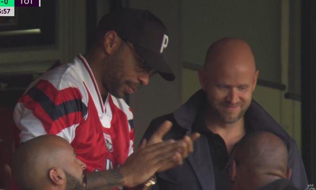 Thierry Henry wore his retro Arsenal shirt at the Emirates alongside Daniel Ek