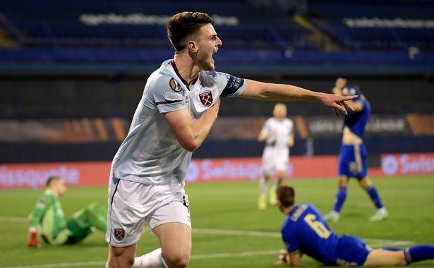 Declan Rice scored as West Ham beat Dinamo Zagreb on Thursday