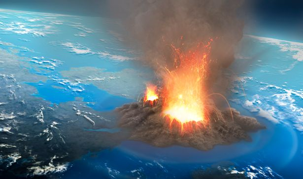 Illustration of an ultra-plinian volcanic eruption seen from an altitude of around 40 km. These eruptions form ash clouds that can reach tens of kilometres into the sky. Eventually the ash cloud collapses, sending avalanches of dust, ash and incandescent rock away from the eruption site at high speeds, hugging the ground in a so-called pyroclastic flow.