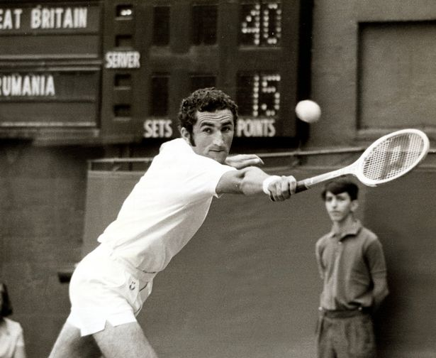 Ion Tiriac in action representing Romania in the Davis Cup and Wimbledon in August 1969.