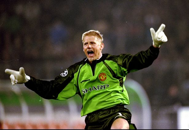 Manchester United keeper Peter Schmeichel celebrates a goal in the UEFA Champions League semi-final second leg match against Juventus at the Stadio delle Alpi in Turin, Italy