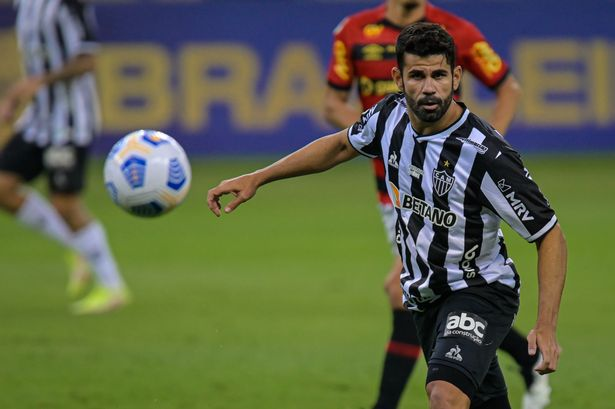 Diego Costa of Atletico MG looks at the ball during a match between Atletico MG and Sport Recife as part of Brasileirao 2021 at Mineirao Stadium on September 18, 2021 in Belo Horizonte, Brazil.