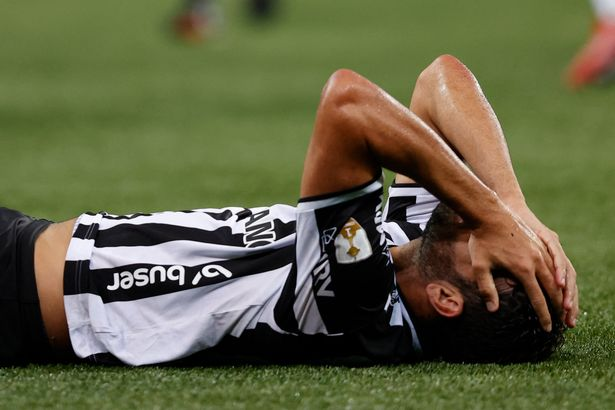 Atletico Mineiro's Spanish Diego Costa lies on the field during the all-Brazilian Copa Libertadores semifinal first leg football match between Palmeiras and Atletico Mineiro at the Allianz Parque stadium in Sao Paulo, Brazil, on September 21, 2021.