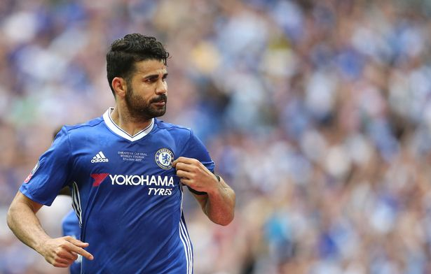 Chelsea's Diego Costa celebrates scoring his sides first goal during the Emirates FA Cup Final match between Arsenal and Chelsea at Wembley Stadium on May 27, 2017 in London, England.
