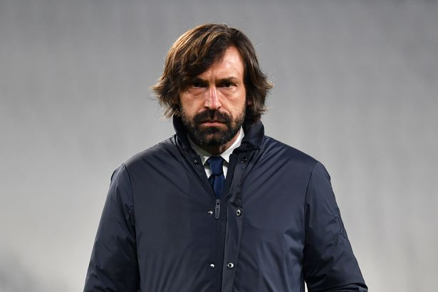 Andrea Pirlo, Head coach of Juventus looks on during the warm up prior to the UEFA Champions League Round of 16 match between Juventus and FC Porto at Juventus Arena on March 09, 2021 in Turin, Italy
