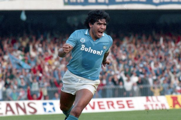 Diego Maradona of Napoli celebrates scoring his side's second goal from the penalty spot during the Serie A match between Napoli and Atalanta at the Stadio San Paolo on October 19, 1986 in Naples, Italy.