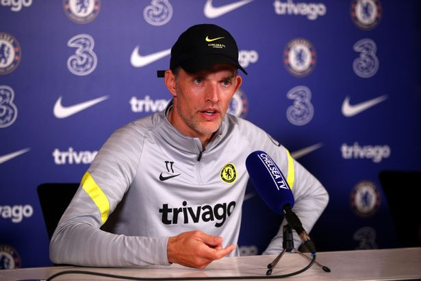 Head Coach Thomas Tuchel of Chelsea during the Chelsea Press Conference at Chelsea Training Ground on October 01, 2021 in Cobham, England.
